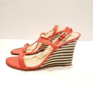 KATE SPADE Coral Patent Striped Wedges